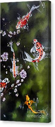 Blossoms And Koi Canvas Print by Carol Avants