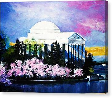 Blossoms At The Jefferson Memorial Canvas Print by Al Brown