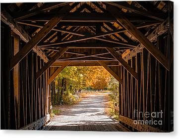 Covered Bridges Canvas Print - Blow-me-down Covered Bridge Cornish New Hampshire by Edward Fielding