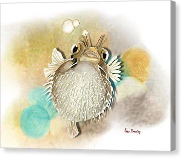 Blowfish Canvas Print by Anne Beverley-Stamps