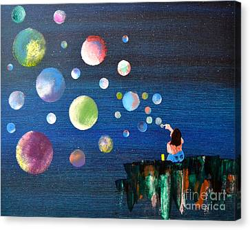 Blowing Bubbles Canvas Print by Denise Tomasura