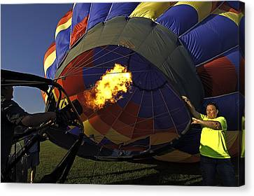 Hot Air Balloon Canvas Print - Blowing Up by Andy Crawford