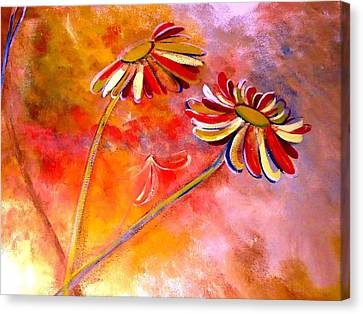 Canvas Print featuring the painting Blown Backward Fall Floral by Lisa Kaiser