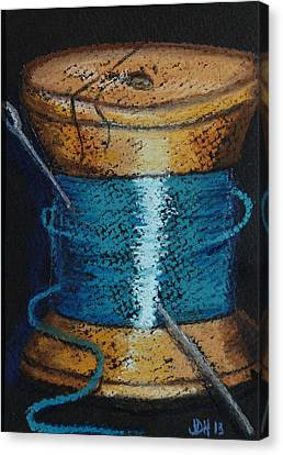 Canvas Print featuring the drawing Blue 6 by Joseph Hawkins