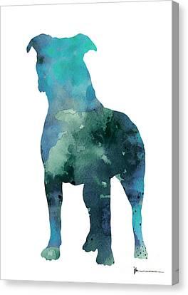 Blue Abstract Pitbull Silhouette Canvas Print by Joanna Szmerdt
