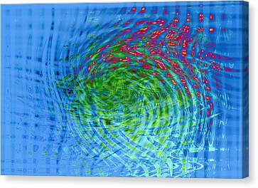 Blue Abstract Reflections And Algae Canvas Print by Frank Tschakert