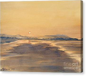 Canvas Print featuring the painting Blue Anchor Sunset by Martin Howard