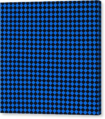 Blue And Black Checkered Pattern Cloth Background Canvas Print by Keith Webber Jr