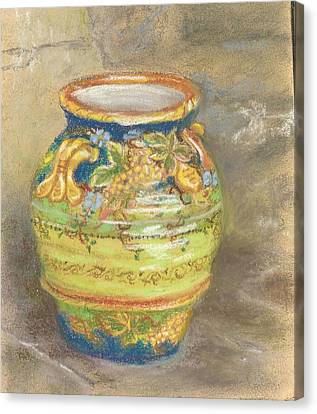 Blue And Gold Italian Pot Canvas Print by Harriett Masterson