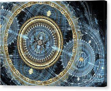 Blue And Gold Mechanical Abstract Canvas Print by Martin Capek