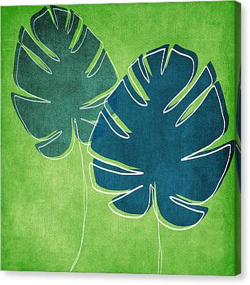 Elephants Canvas Print - Blue And Green Palm Leaves by Linda Woods