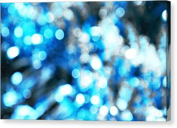 Canvas Print featuring the digital art Blue And White Bokeh by Fine Art By Andrew David