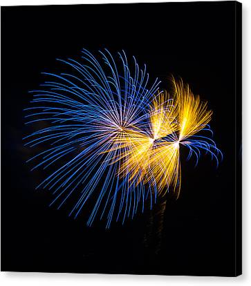 Blue And Orange Fireworks Canvas Print by Paul Freidlund
