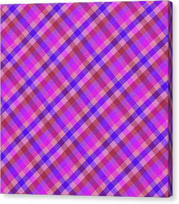 Traditional Quilt Canvas Print - Blue And Pink Plaid Design Fabric Background by Keith Webber Jr