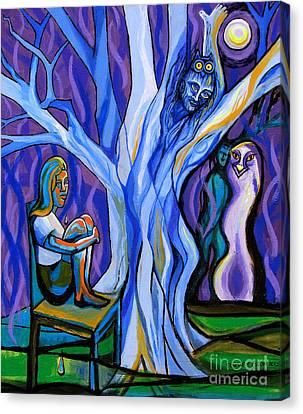 Blue And Purple Girl With Tree And Owl Canvas Print by Genevieve Esson
