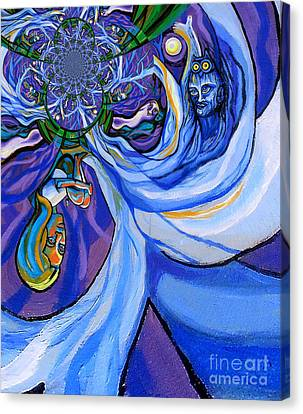 Blue And Purple Girl With Tree And Owl Upside Down Canvas Print by Genevieve Esson
