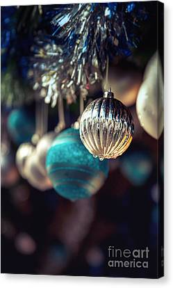 Merry -go- Round Canvas Print - Blue And Silver Baubles. by Jane Rix