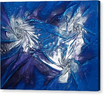 Canvas Print featuring the mixed media Blue And Silver Twin 2 by Angela Stout