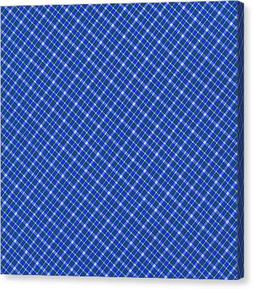 Blue And White Diagonal Plaid Pattern Cloth Background Canvas Print by Keith Webber Jr
