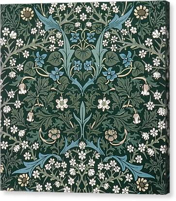 Blue And White Flowers On Green Canvas Print by William Morris