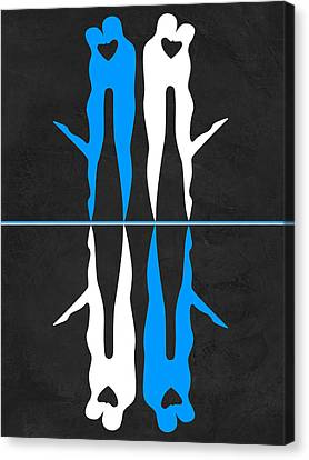 Blue And White Kiss Canvas Print by Naxart Studio
