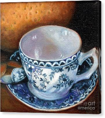 Canvas Print featuring the painting Blue And White Teacup With Spoon by Marlene Book