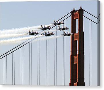 Blue Angels And The Bridge Canvas Print by Bill Gallagher