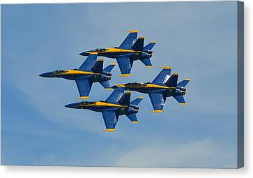 Canvas Print featuring the photograph Blue Angels Diamond Formation Over Pensacola Beach by Jeff at JSJ Photography