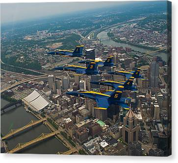 Blue Angels Over Pittsburg Canvas Print by Specialist 2nd Class Kathryn E Macdonald