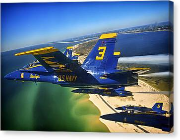 Blue Angels Over The Florida Coastline Canvas Print by Mountain Dreams