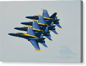Blue Angels Practice Echelon Formation Canvas Print by Jeff at JSJ Photography