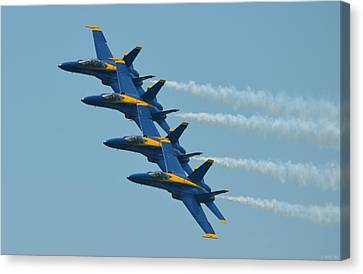 Canvas Print featuring the photograph Blue Angels Practice Echelon Formation Over Pensacola Beach by Jeff at JSJ Photography