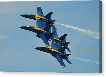 Blue Angels Practice Formation Over Pensacola Beach Canvas Print by Jeff at JSJ Photography