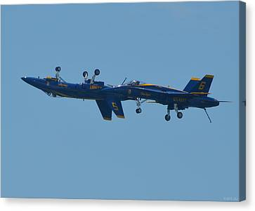 Canvas Print featuring the photograph Blue Angels Practice Up And Down With Low And Slow by Jeff at JSJ Photography