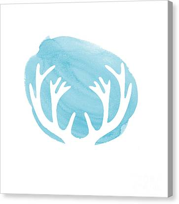Blue Antlers Canvas Print by Marion De Lauzun