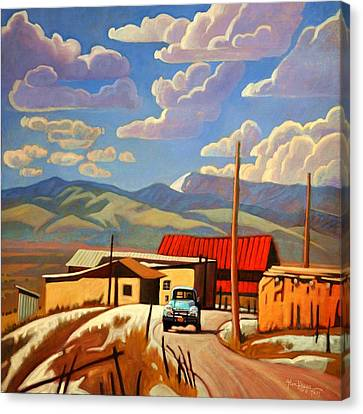 Canvas Print featuring the painting Blue Apache by Art James West