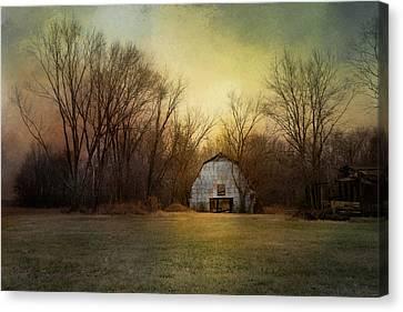 Blue Barn At Sunrise Canvas Print by Jai Johnson