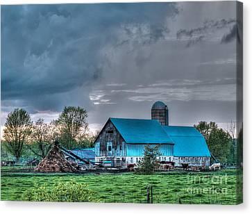 Blue Barn Canvas Print