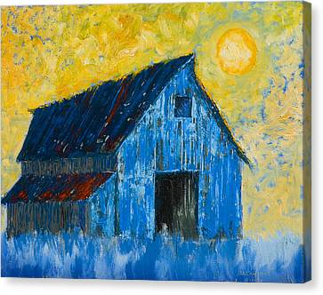 Blue Barn Number One Canvas Print by Jerry McElroy