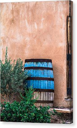 Rain Barrel Canvas Print - Blue Barrel With Adobe by Steven Bateson