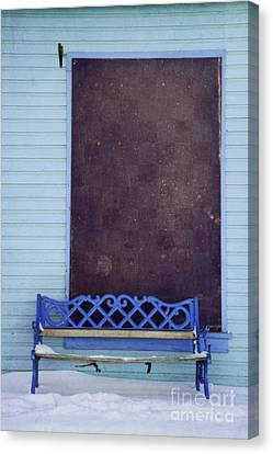 Blue Bench Canvas Print by Priska Wettstein