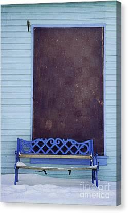 Blue Bench Canvas Print by Priska Wettstein