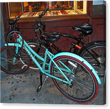 Canvas Print featuring the photograph Blue Bianchi Bike by Joan Reese