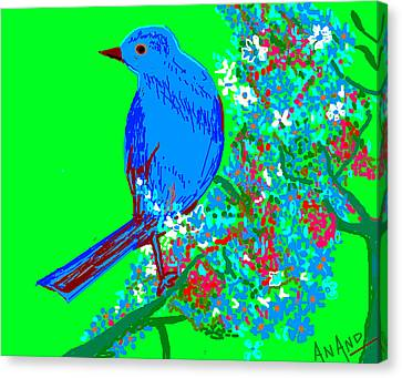 Blue Bird And Flowers Canvas Print by Anand Swaroop Manchiraju