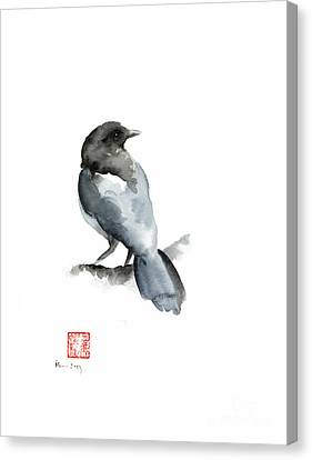 Blue Bird Grey Black Crow Silver Winter Scenery Landscape Watercolor Painting Canvas Print by Johana Szmerdt