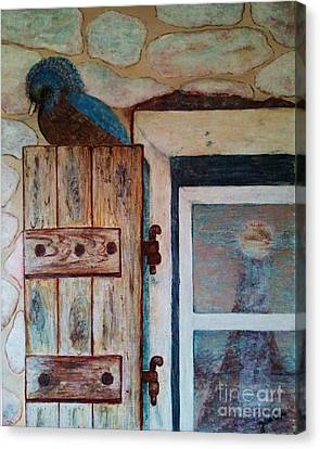 Canvas Print featuring the painting Blue Bird by Jasna Gopic