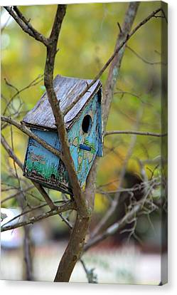 Canvas Print featuring the photograph Blue Birdhouse by Gordon Elwell