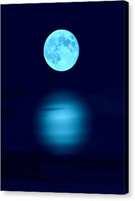 Blue Blue Moon Canvas Print by Barbara S Nickerson