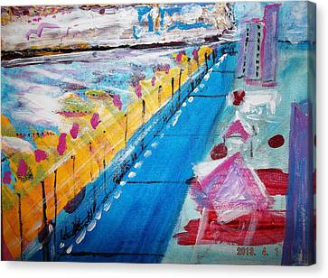 Blue Boardwalk Canvas Print by Leslie Byrne