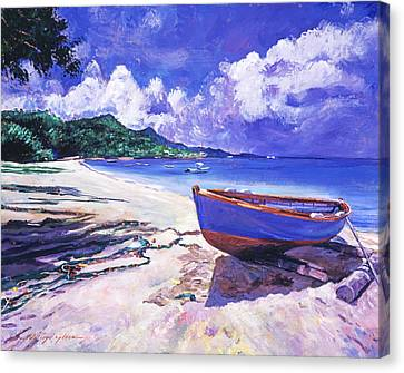 Blue Boat And Fishnets Canvas Print by David Lloyd Glover